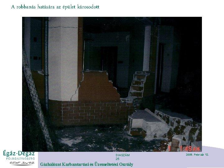 A robbanás hatására az épület károsodott DIASZÁM 25 Gázhálózat Karbantartási és Üzemeltetési Osztály 2008.