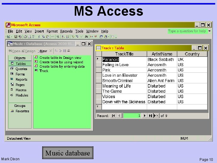 MS Access Mark Dixon Music database Page 10