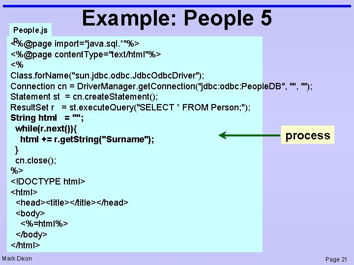 """People. js p Example: People 5 <%@page import=""""java. sql. *""""%> <%@page content. Type=""""text/html""""%> <%"""
