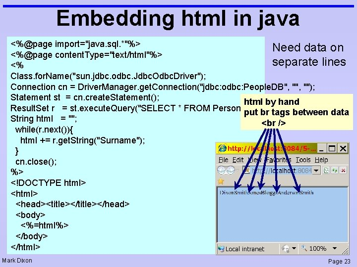 """Embedding html in java <%@page import=""""java. sql. *""""%> Need data on <%@page content. Type=""""text/html""""%>"""