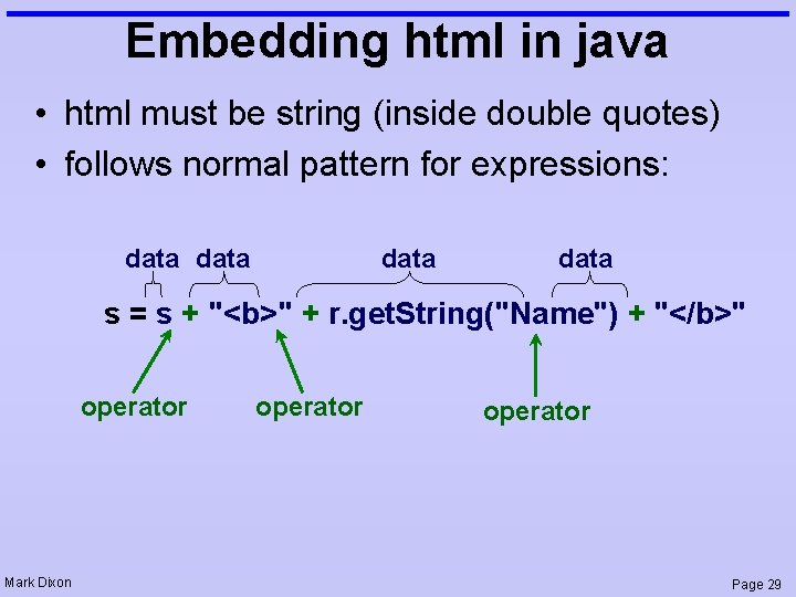 Embedding html in java • html must be string (inside double quotes) • follows