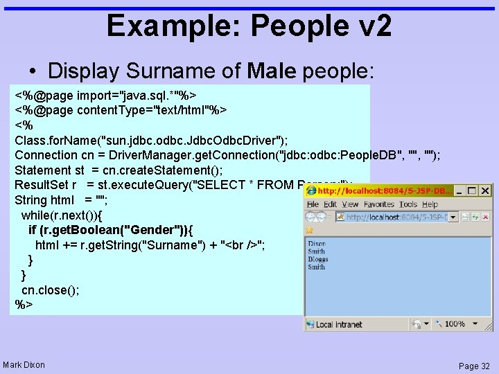 """Example: People v 2 • Display Surname of Male people: <%@page import=""""java. sql. *""""%>"""