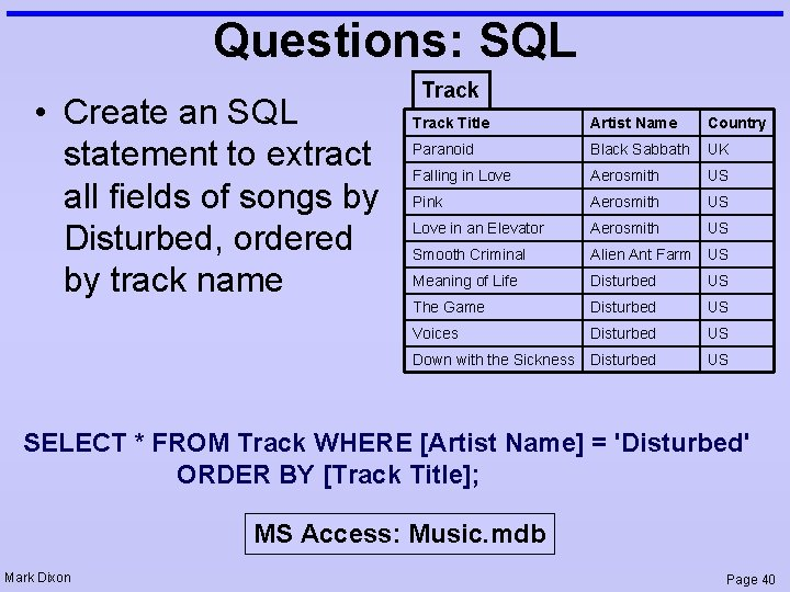 Questions: SQL • Create an SQL statement to extract all fields of songs by