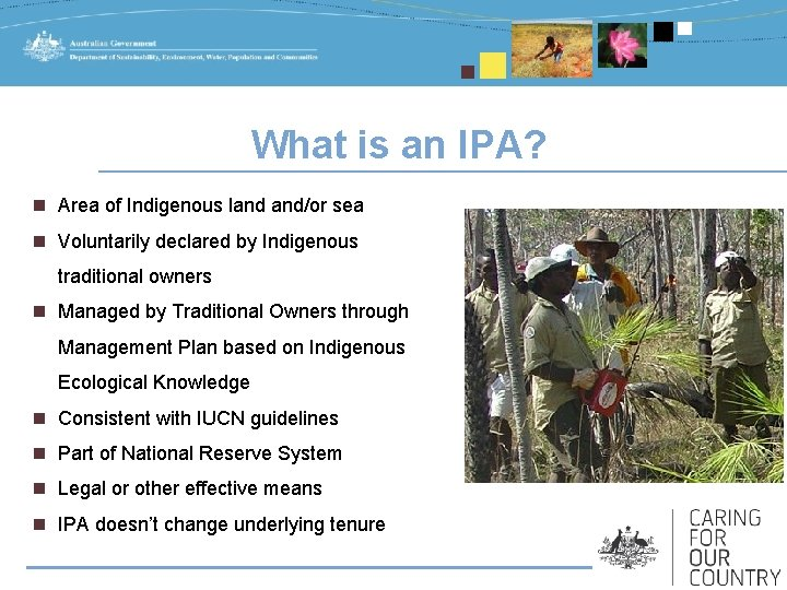 What is an IPA? n Area of Indigenous land and/or sea n Voluntarily declared
