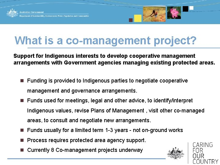 What is a co-management project? Support for Indigenous interests to develop cooperative management arrangements