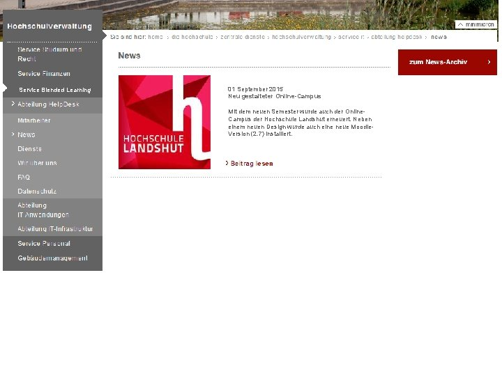 Service Blended Learning 01 September 2015 Neu gestalteter Online-Campus Mit dem neuen Semester wurde