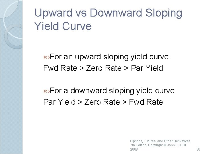 Upward vs Downward Sloping Yield Curve For an upward sloping yield curve: Fwd Rate
