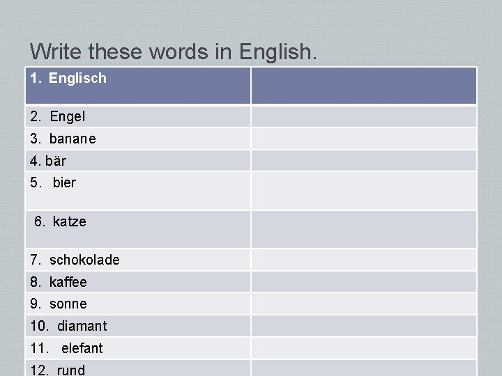 Write these words in English. 1. Englisch 2. Engel 3. banane 4. bär 5.