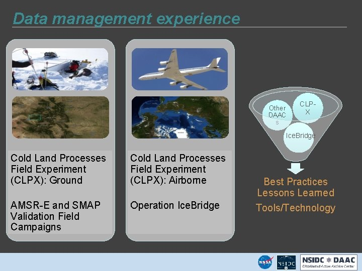 Data management experience Other DAAC s CLPX Ice. Bridge Cold Land Processes Field Experiment