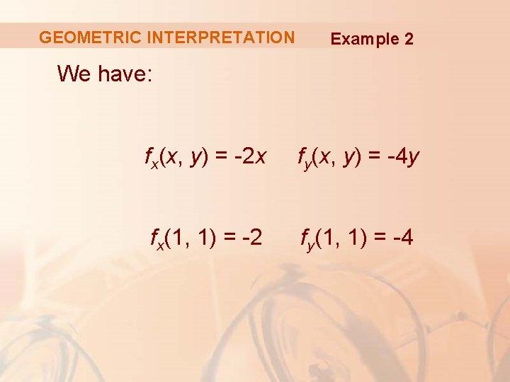 GEOMETRIC INTERPRETATION Example 2 We have: fx(x, y) = -2 x fy(x, y) =