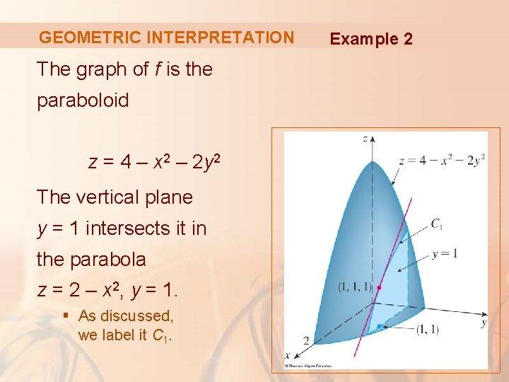 GEOMETRIC INTERPRETATION The graph of f is the paraboloid z = 4 – x