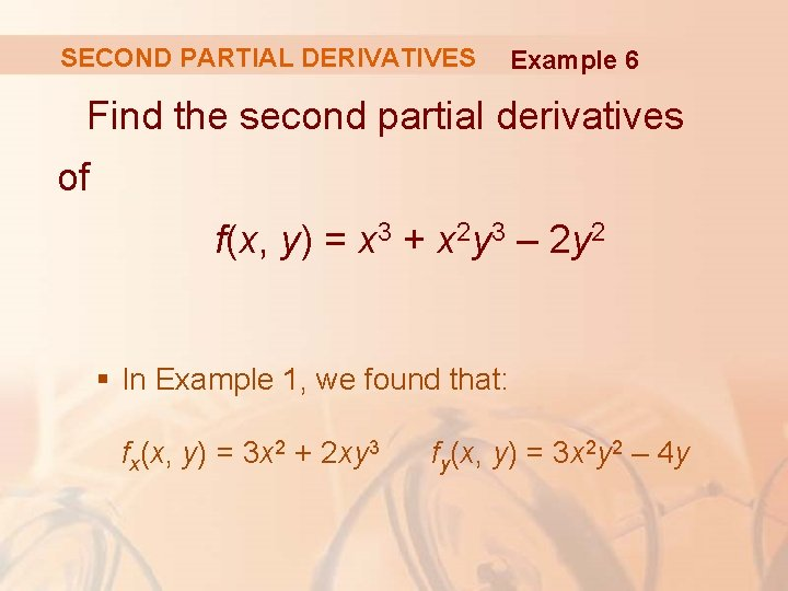 SECOND PARTIAL DERIVATIVES Example 6 Find the second partial derivatives of f(x, y) =