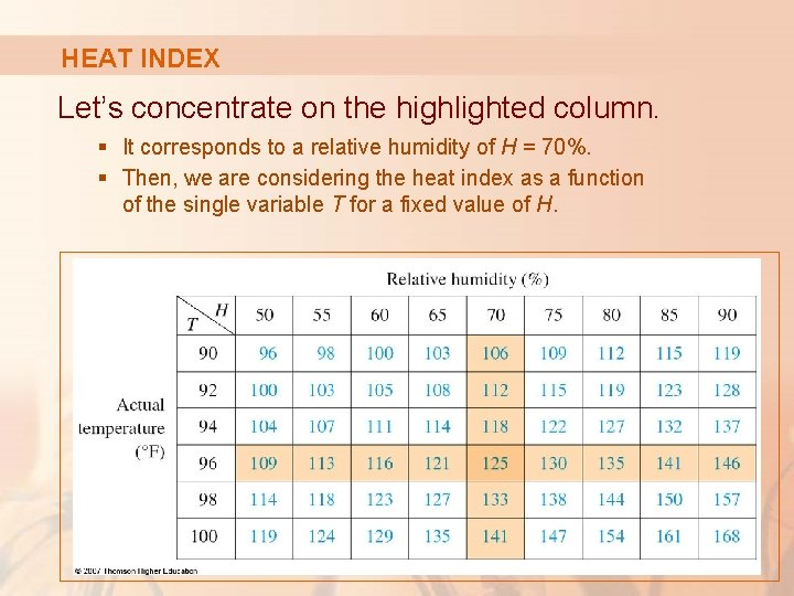 HEAT INDEX Let's concentrate on the highlighted column. § It corresponds to a relative