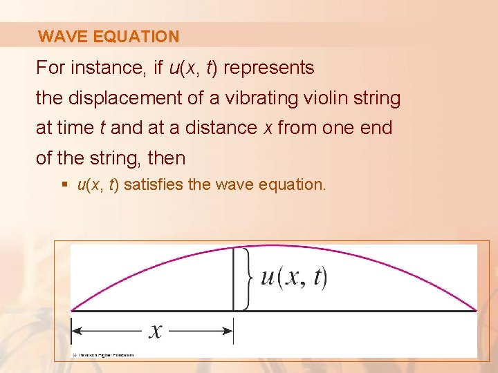 WAVE EQUATION For instance, if u(x, t) represents the displacement of a vibrating violin