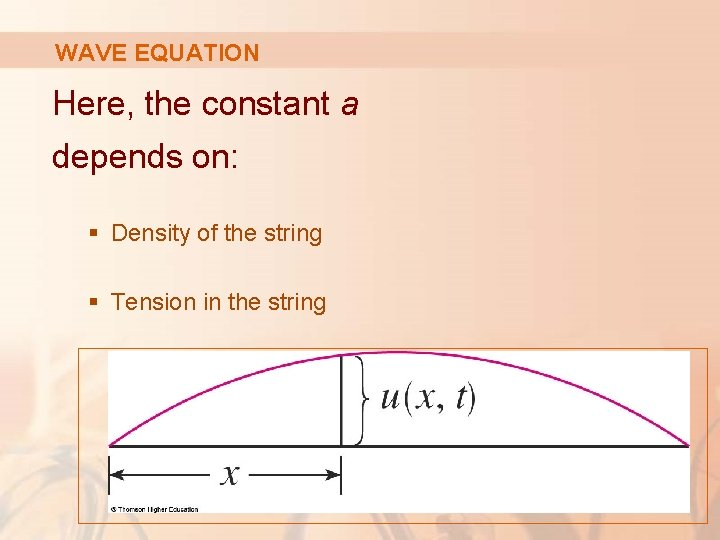 WAVE EQUATION Here, the constant a depends on: § Density of the string §