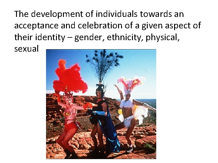 The development of individuals towards an acceptance and celebration of a given aspect of