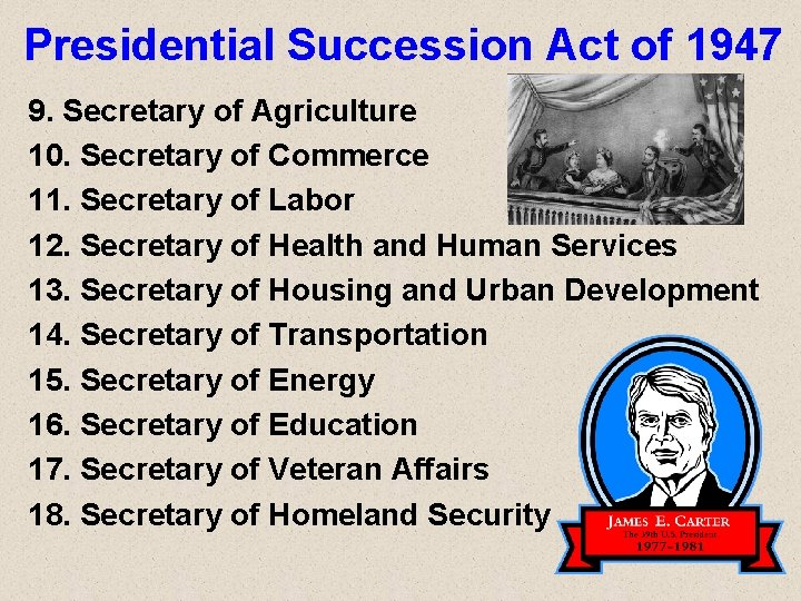 Presidential Succession Act of 1947 9. Secretary of Agriculture 10. Secretary of Commerce 11.