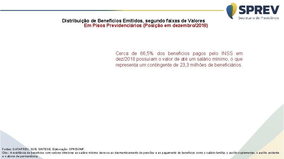 Distribuição de Benefícios Emitidos, segundo faixas de Valores Em Pisos Previdenciários (Posição em dezembro/2018)
