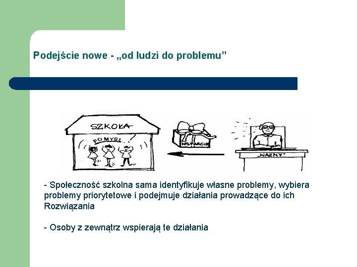 """Podejście nowe - """"od ludzi do problemu"""" - Społeczność szkolna sama identyfikuje własne problemy,"""