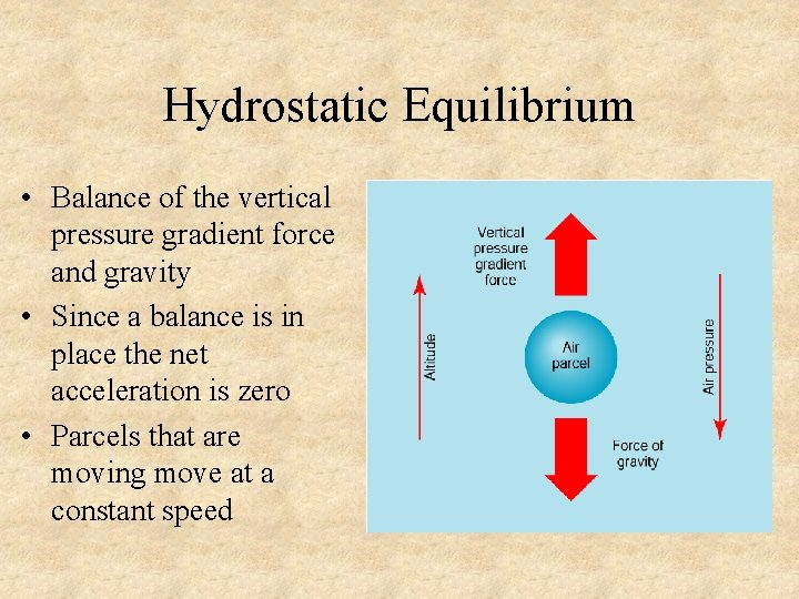 Hydrostatic Equilibrium • Balance of the vertical pressure gradient force and gravity • Since