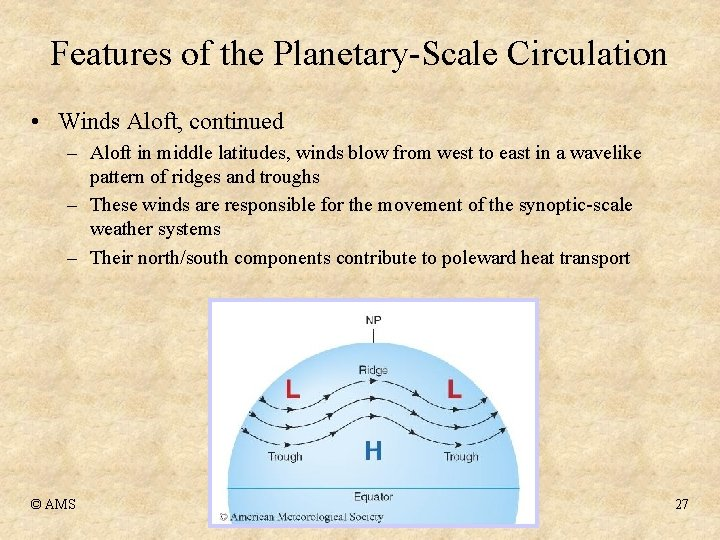 Features of the Planetary-Scale Circulation • Winds Aloft, continued – Aloft in middle latitudes,