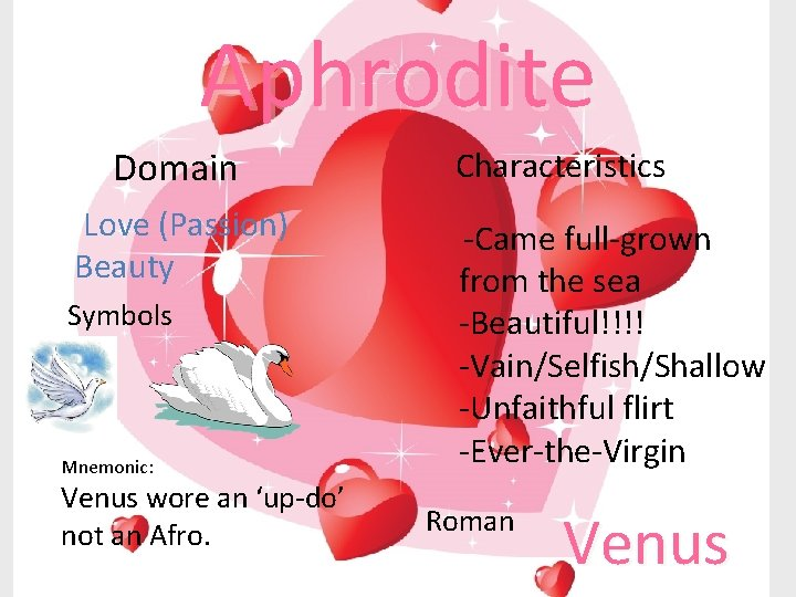 Aphrodite Domain Love (Passion) Beauty Symbols Mnemonic: Venus wore an 'up-do' not an Afro.