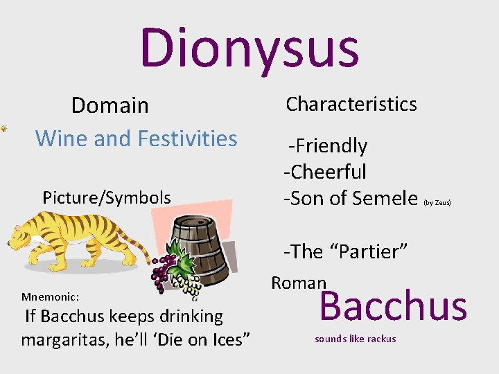Dionysus Domain Wine and Festivities Picture/Symbols Characteristics -Friendly -Cheerful -Son of Semele (by Zeus)