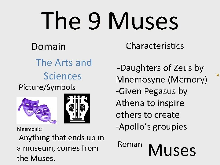 The 9 Muses Domain The Arts and Sciences Picture/Symbols Mnemonic: Anything that ends up