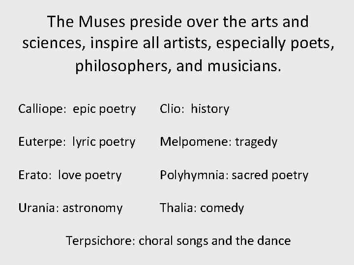 The Muses preside over the arts and sciences, inspire all artists, especially poets, philosophers,