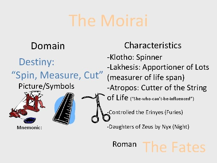"""The Moirai Domain Destiny: """"Spin, Measure, Cut"""" Picture/Symbols Characteristics -Klotho: Spinner -Lakhesis: Apportioner of"""