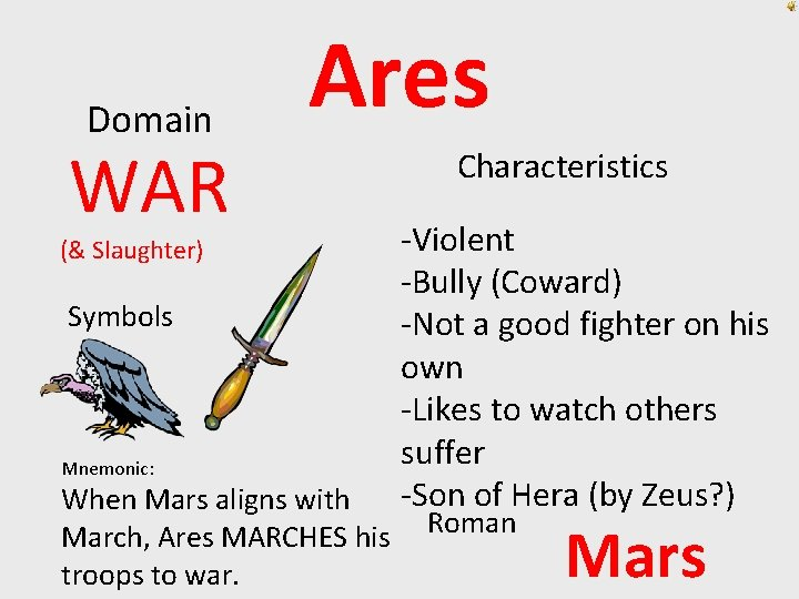 Domain WAR Ares (& Slaughter) Symbols Mnemonic: When Mars aligns with March, Ares MARCHES