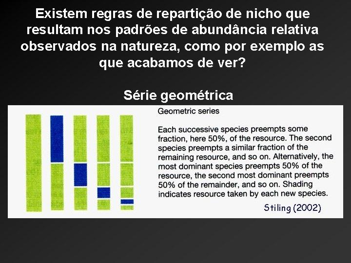 Existem regras de repartição de nicho que resultam nos padrões de abundância relativa observados