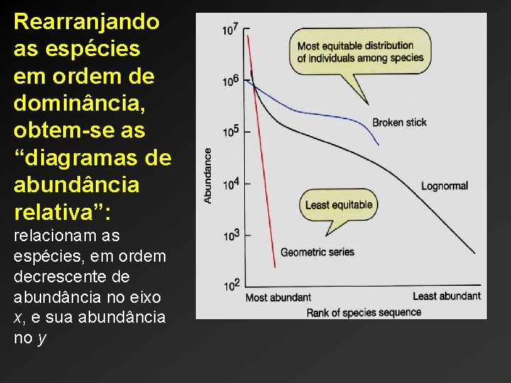 """Rearranjando as espécies em ordem de dominância, obtem-se as """"diagramas de abundância relativa"""": relacionam"""