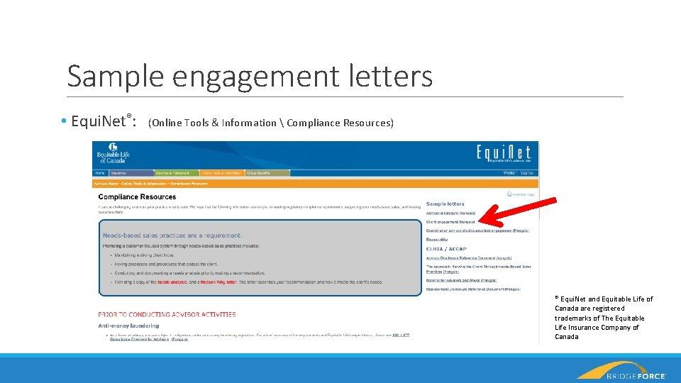 Sample engagement letters • Equi. Net®: (Online Tools & Information  Compliance Resources) ®