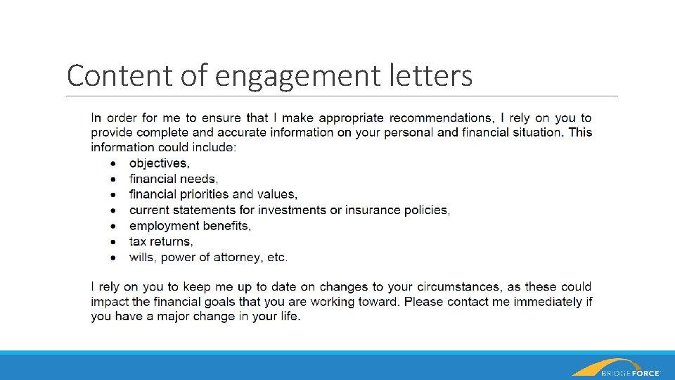 Content of engagement letters