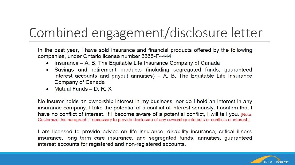 Combined engagement/disclosure letter