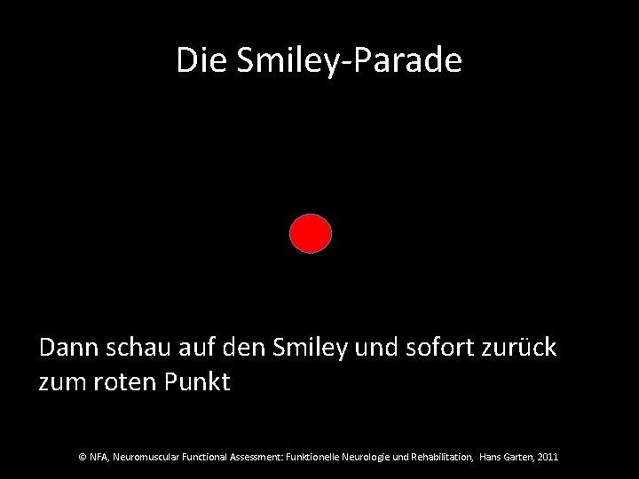 Die Smiley-Parade Dann schau auf den Smiley und sofort zurück zum roten Punkt ©