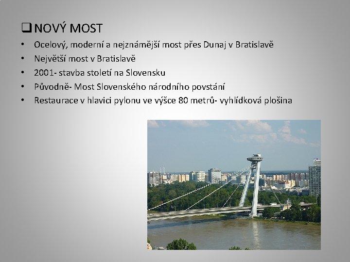 q NOVÝ MOST • • • Ocelový, moderní a nejznámější most přes Dunaj v