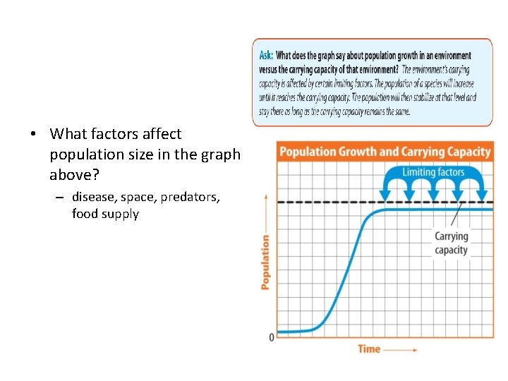 • What factors affect population size in the graph above? – disease, space,
