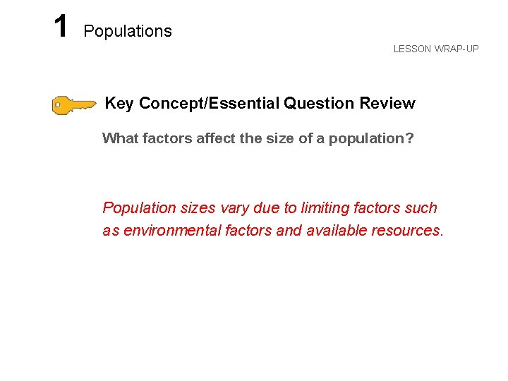 LESSON 1 Populations LESSON WRAP-UP Key Concept/Essential Question Review What factors affect the size