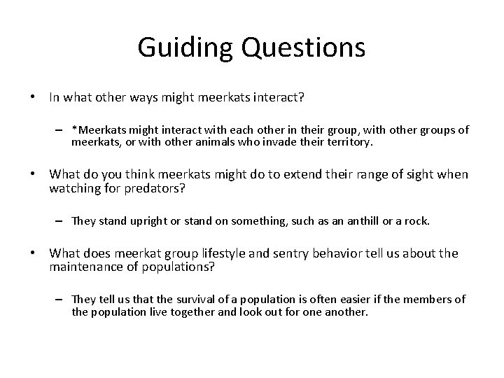 Guiding Questions • In what other ways might meerkats interact? – *Meerkats might interact
