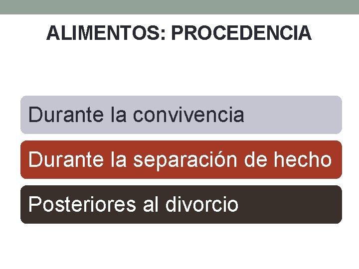 ALIMENTOS: PROCEDENCIA Durante la convivencia Durante la separación de hecho Posteriores al divorcio