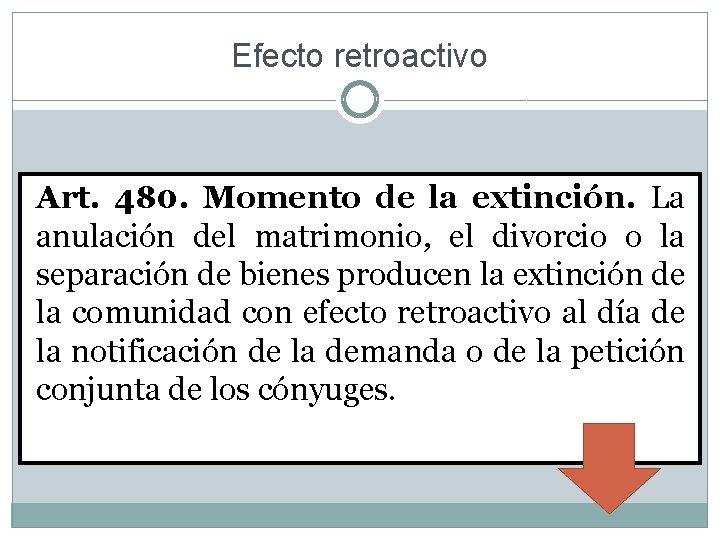 Efecto retroactivo Art. 480. Momento de la extinción. La anulación del matrimonio, el divorcio