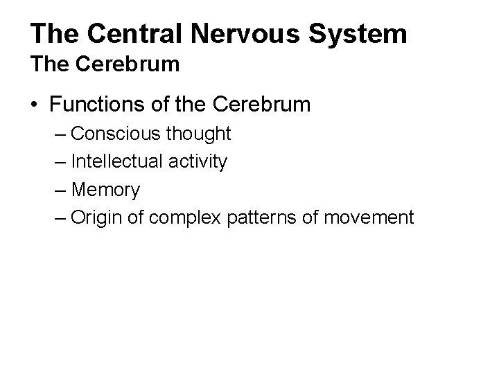 The Central Nervous System The Cerebrum • Functions of the Cerebrum – Conscious thought
