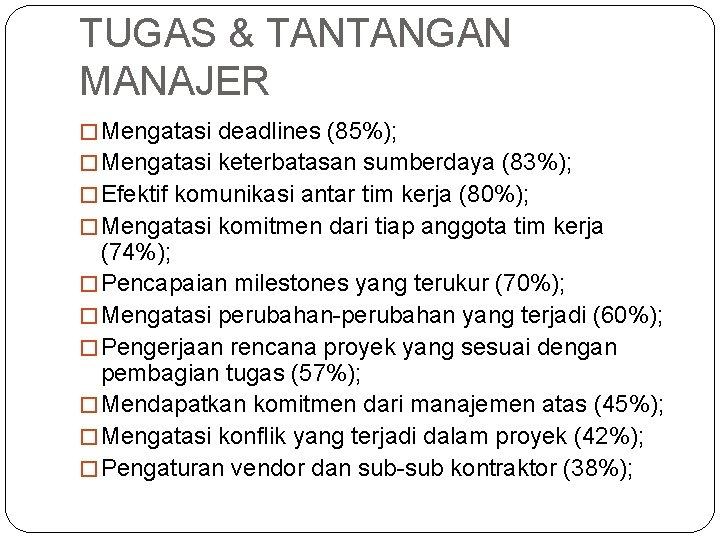 TUGAS & TANTANGAN MANAJER � Mengatasi deadlines (85%); � Mengatasi keterbatasan sumberdaya (83%); �