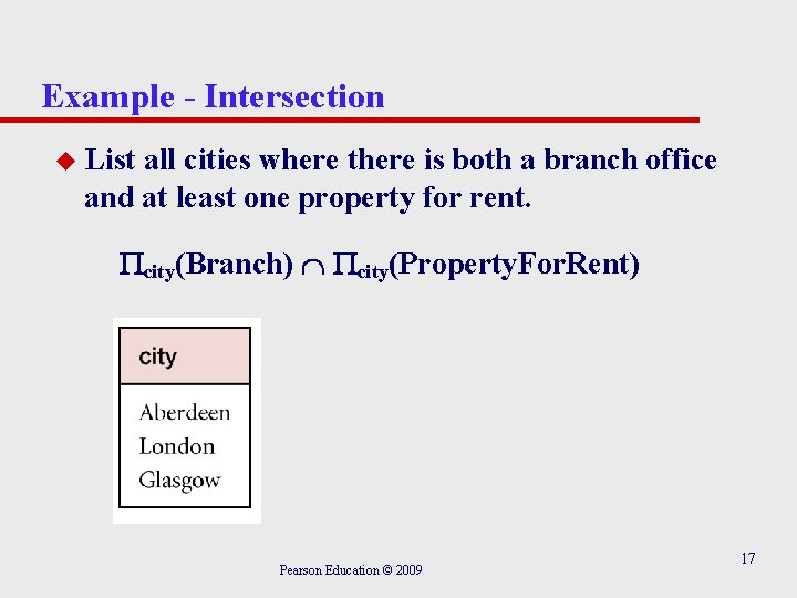 Example - Intersection u List all cities where there is both a branch office