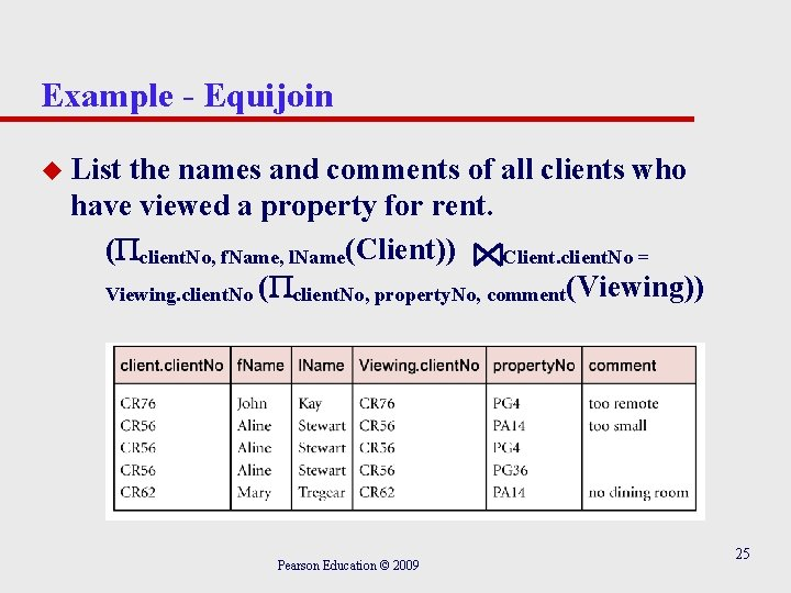 Example - Equijoin u List the names and comments of all clients who have