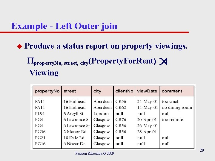 Example - Left Outer join u Produce a status report on property viewings. property.
