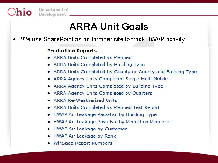 ARRA Unit Goals • We use Share. Point as an Intranet site to track