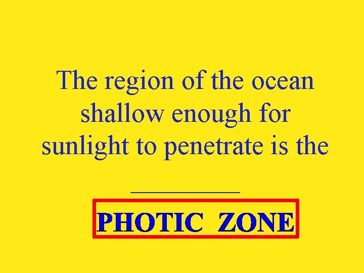 The region of the ocean shallow enough for sunlight to penetrate is the ____